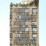 نمای پلان ساختمان مسکونی خانه سبز